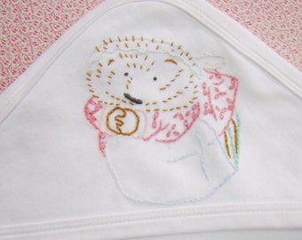 Tiggy-Winkle  - Hand Embroidered Baby Swaddling Blanket Vintage Style Beatix Potter - Made to Order