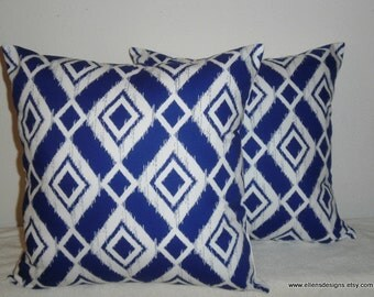 Decorative-Accent-Throw PIllow Covers-Set of Two 18 inch- Royal Blue and White Ikat Diamond,Free Domestic Shipping