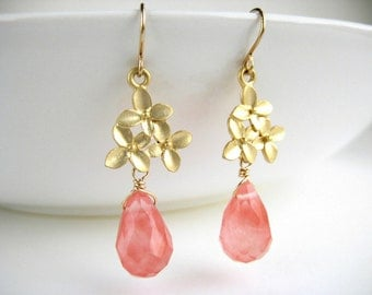Cherry Blossom Earrings - pink and gold flower bridesmaid jewelry, nickel free cherry quartz drop earrings - Flower Bouquet (Watermelon)