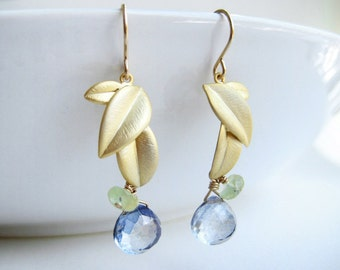 Blue Gold Earrings - Gold leaf, December birthstone, dark navy blue drop and green gemstone, bridesmaid gift - Artesian Leaf (Blue)