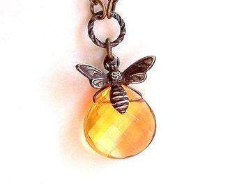 Bee Necklace - Warm Honey Topaz Quartz Briollete Pendant and Antiqued Brass Bee Charm - 4078