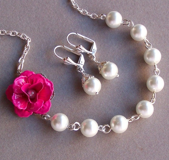 Six Bridesmaids Necklaces - with Hot Pink Flower and White Glass Pearls, Custom Pearl and Flower Color, Bridesmaids Gifts -4050