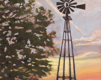 Windmill at Sunset Original Oil painting 20X16