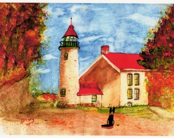 German Shepherd Dog Lighthouse ACEO Folk Art PRINT of Todd Young painting