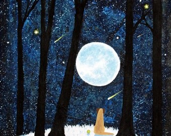 Yellow Lab dog LARGE Folk Art PRINT of Todd Young painting Winter Shadows