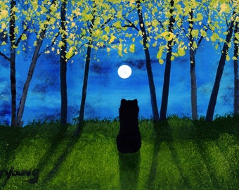 Schipperke Dog Outsider Folk Art Print by Todd Young SPRING FOREST