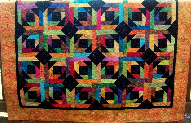 Geometric Quilt Modern Batik Quilt Lap Quilt 60 X 60 Inches
