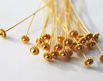 24GA, 70MM, 24kt karat Gold Vermeil Head Pin with Coil Ball, PK4