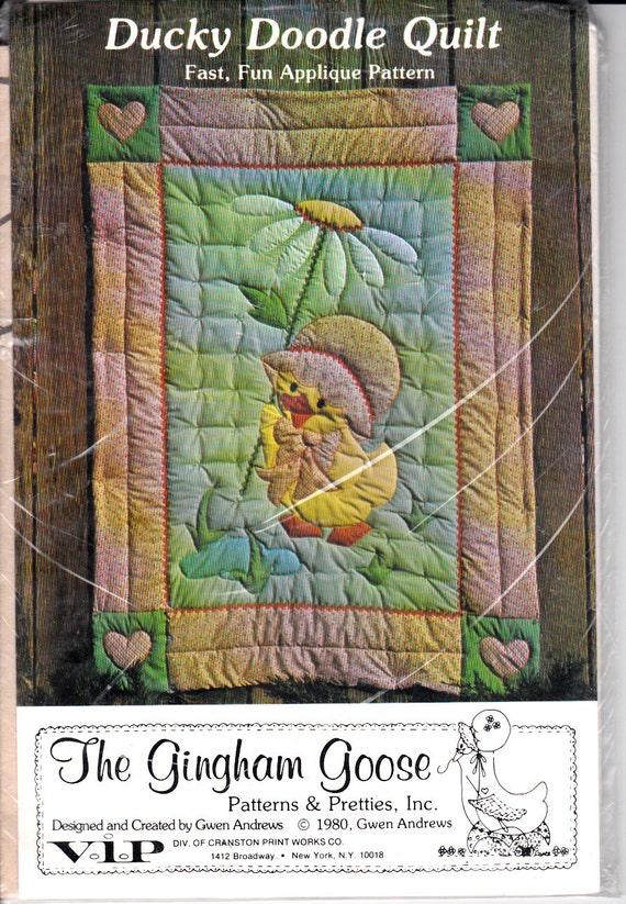 Gingham Goose Ducky Doodle Quilt Easy Applique Pattern Vintage