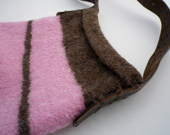 Pink & Brown Striped Felted Purse **FREE SHIPPING (US only)**