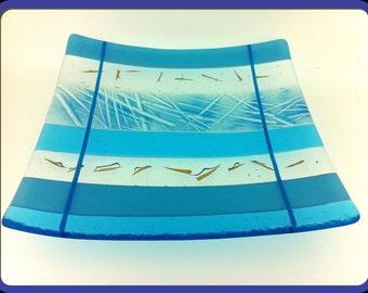 Fused Glass Square Sushi Plate / Serving Platter - Blue Stripes