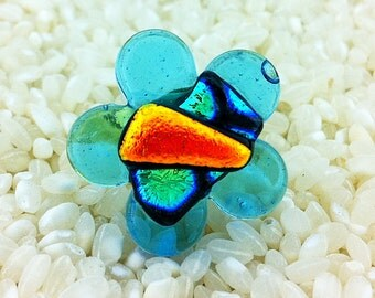 Fused Glass Flower Ring  - Adjustable Size - Choice of Gold or Silver Fittings -  Turquoise