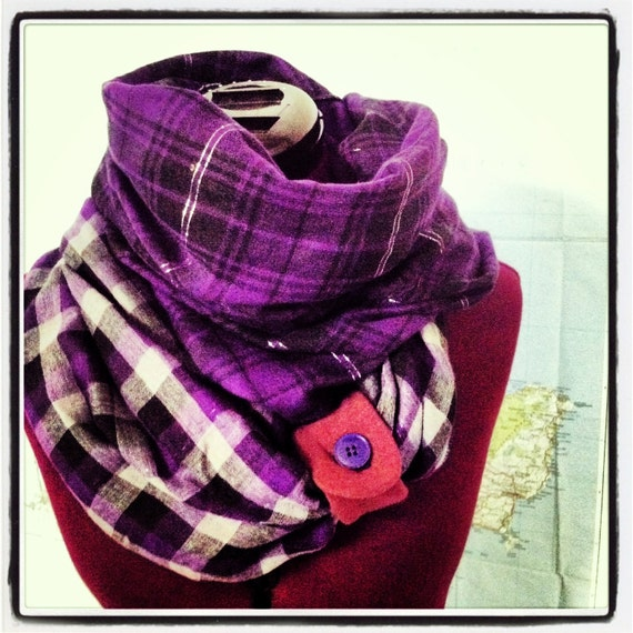LAST ONE  reversible Infinity Scarf in plum plaid --multi season circle scarf with button tab closure, Plum-tastic.