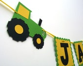 Tractor Birthday Party Name Banner - Farm Green Tractor Birthday Garland - Farm Bash Baby Shower - 1st to Adult Birthday Name Sign Flags