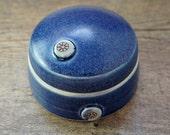Denim Blue Lidded Box, Trinket  box- Wheel Thrown Pottery