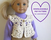 Dainty Crochet Vest PDF Pattern by Lavenderlore for Many Popular 18 Inch Dolls - Permission to Sell Finished Item