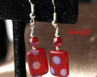 Red Frosted Polka Dot Earrings 13006