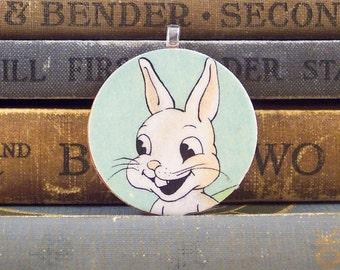 Wooden White Rabbit Pendant - Vintage Illustration Round Wooden Pendant - Wood Rabbit Charm - Kitchy Bunny Pendant - Paper Ephemera Charm