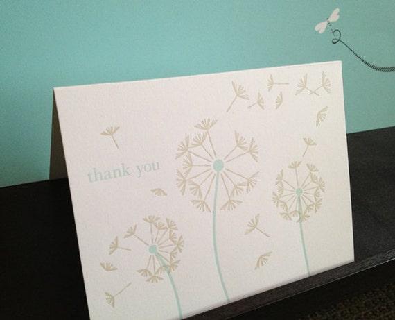 Letterpress Blue Dandelion Thank You Notecards