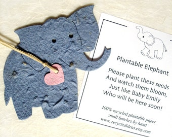 Plantable Seed Paper Elephants Baby Shower Favors - Kids Birthday Party Favors - with Flower Seeds