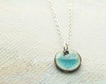 Simple Blue Necklace Tiny Accent Enamel Pebble - Shoreline