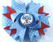 Boutique Bottle Cap Hair Bow Clip-BlueRed LaLaLoopsy
