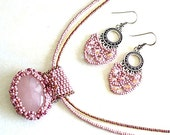 Rose Quartz Necklace Rose Quartz Pendant Rose Quartz Earrings Necklace and Earrings Heart Chakra ewelry S2012-01