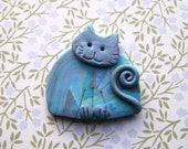 Polymer Clay Blue Marbled Cat Brooch or Magnet