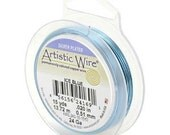 18 Gauge 20 Feet Artistic Wire Silver Plated Ice Blue Wire 420443
