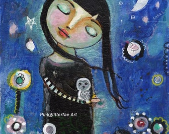 Girl Painting, Owl, Night Garden, Children's art, Wall decor, Blue, Print, 8 x 10
