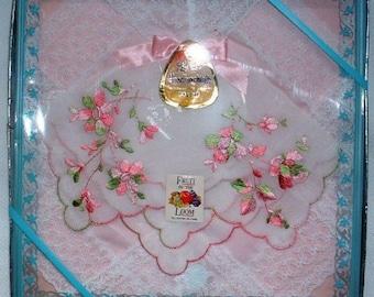 Fruit of the Loom  Handkerchiefs  Ladies Vintage  Boxed Set  Nylon Hankies