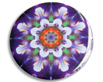 Flower Mandala Pocket Mirror in Purple, Orange and Green - Connection Mandala - Great Teacher Gifts, Wedding Favors, or Thank You Gifts