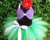 "Little Mermaid Tutu - Custom Sewn 11"" Girls Pixie Tutu Ariel Costume - tutu, seashell bra top, and flower headband - For Halloween"