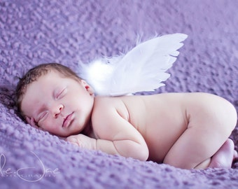 Infant Feather Angel Wings - newborn to 12 months - Perfect for Photo Props and Shower Gifts - Wings Only - READY TO SHIP