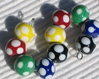 "Handmade Glass Lampwork Beads, yellow, red, black, blue, green dots ""Prime Plus"""