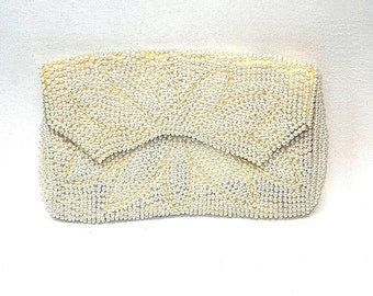 Vintage Clutch Purse Faux Pearls Subtle Floral Design Round and Rice Pearls