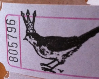 Vintage Style Hand Stamped Royal Crowned Bird Carnival Tickets