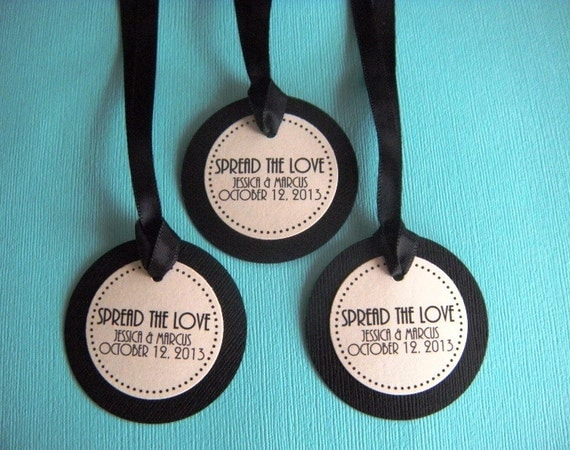40 Custom Printed Black and Ivory Circle Wedding Favor Tags with Ribbon RESERVED FOR JESSICA