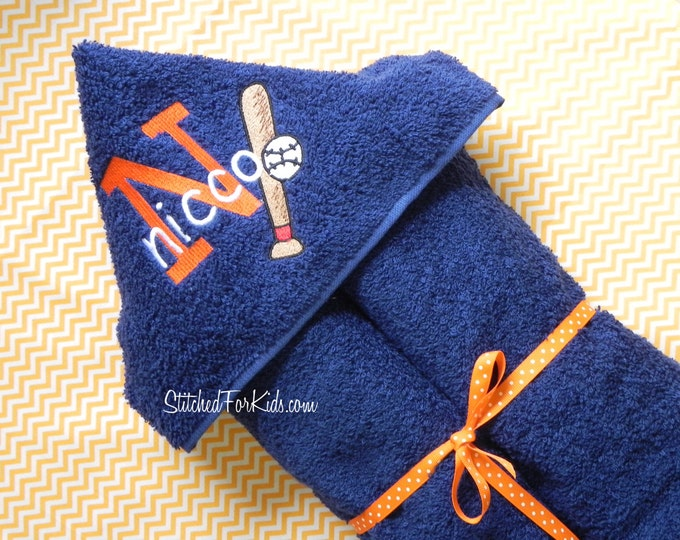 Personalized  Hooded Baseball Towel, Baseball Towel, Baseball Gift, World Series, Sport Baby Shower