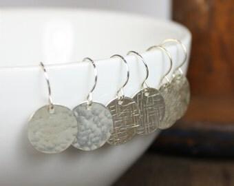 Earrings - Modern Hammered Disc  - Sterling Silver Metal