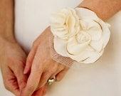 Fabric Flower Wrist Corsage - Weddings, Wedding Accessory - Wedding Fabric Corsage