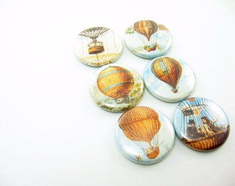 Six fridge magnet set, pins or wine charms - Hot Air Balloons - vintage images float fly travel 1193