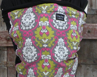 Baby Sling ORGANIC COTTON Baby Wrap-Sling Carrierr-Hannah on Black-Our Wraps Are One Size Fits All-DvD Included