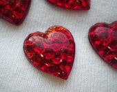 Crimson Red Foiled Glass Vintage Reflector Cabochons 20X18mm Convex Hearts 4