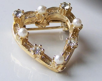 REDUCED Heart Brooch, Heart Pin, Vintage Heart Brooch, Rhinestone and Pearl Brooch, Rhinestone and Faux Pearl Pin,Etsy, Etsy Jewelry,