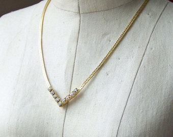 REDUCED Rhinestone Chevron Necklace, Gold Plated Necklace, Vintage Chevron Necklace, Vintage Necklace, Rhinestone Necklace, Etsy Jewelry,