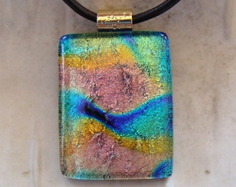 Dichroic Glass Pendant, Necklace, Glass Jewelry, Aqua, Pink, Gold, Necklace Included