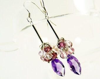 Purple Amethyst Silver Earrings,  Handmade Jewelry