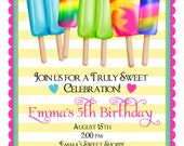 Ice Pops Invitations, NEW, Summer, Treats, favor, Birthday, Children, Kids, Stickers, Note cards, address labels