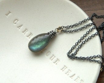 Micro Faceted Minimalist Mixed Metal  Wire Wrapped Labradorite Pendant Necklace